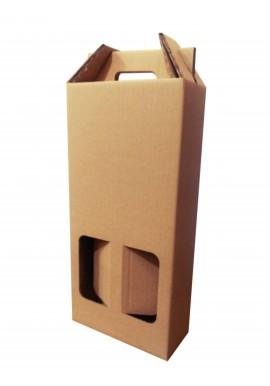 Pack 10 cajas de cartón 2 botellas de vino Kraft